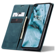 OPPRO OnePlus Nord Wallet Case Vintage Leather Blue