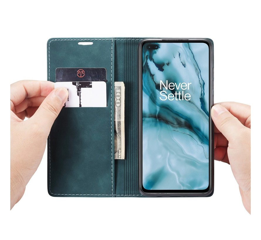 OnePlus Nord Brieftasche Vintage Leder Blau