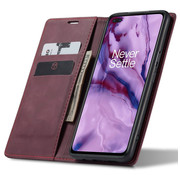 OPPRO OnePlus Nord Wallet Case Vintage Leather Red