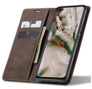 OPPRO OnePlus Nord Wallet Case Vintage Leather Brown
