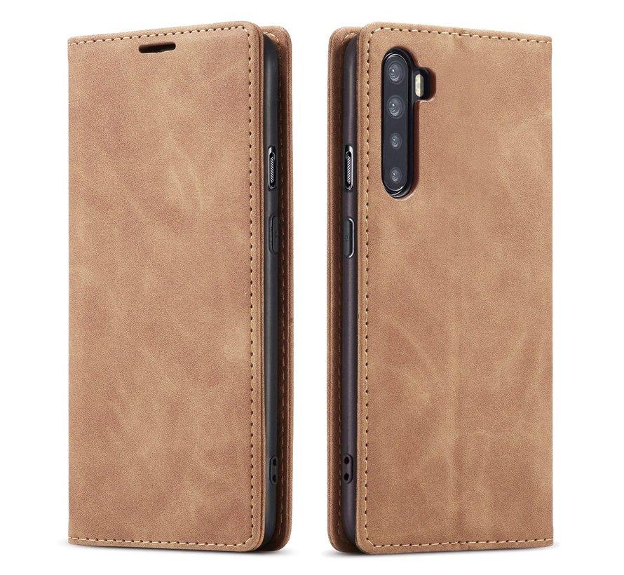 OnePlus Nord Wallet Hoesje Vintage Leder Beige
