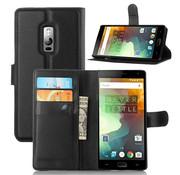 OPPRO OnePlus 2 Wallet Flip Case Zwart