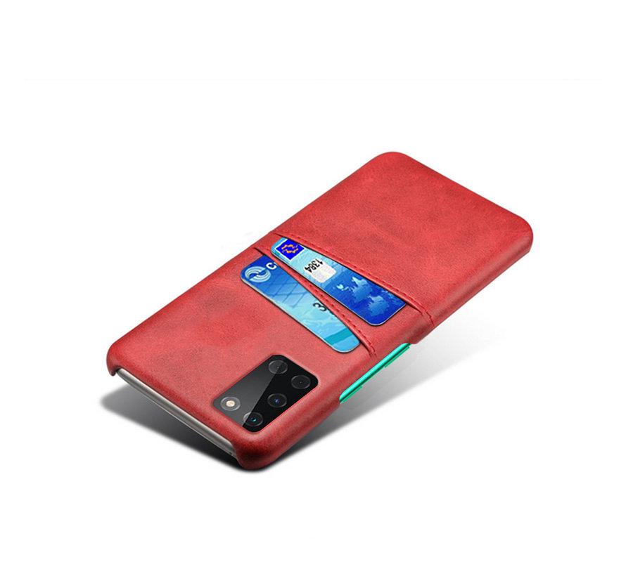 OnePlus 8T Hoesje Slim Leder Kaarthouder Rood