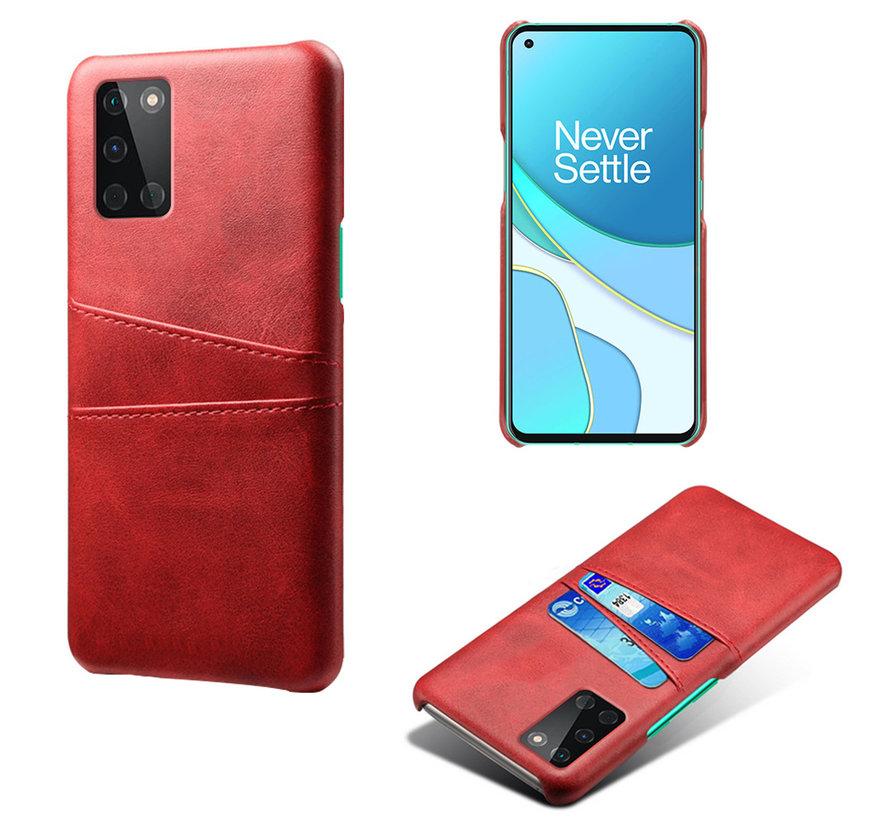 OnePlus 8T Case Slim Leder Kartenhalter Rot