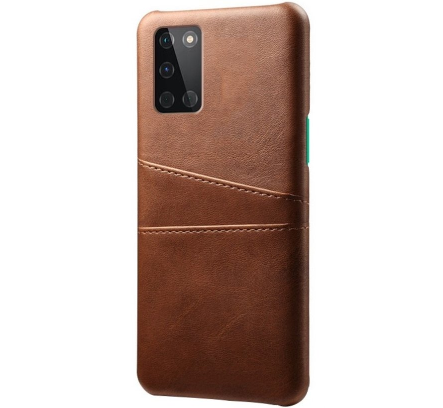 OnePlus 8T Hoesje Slim Leder Kaarthouder Bruin