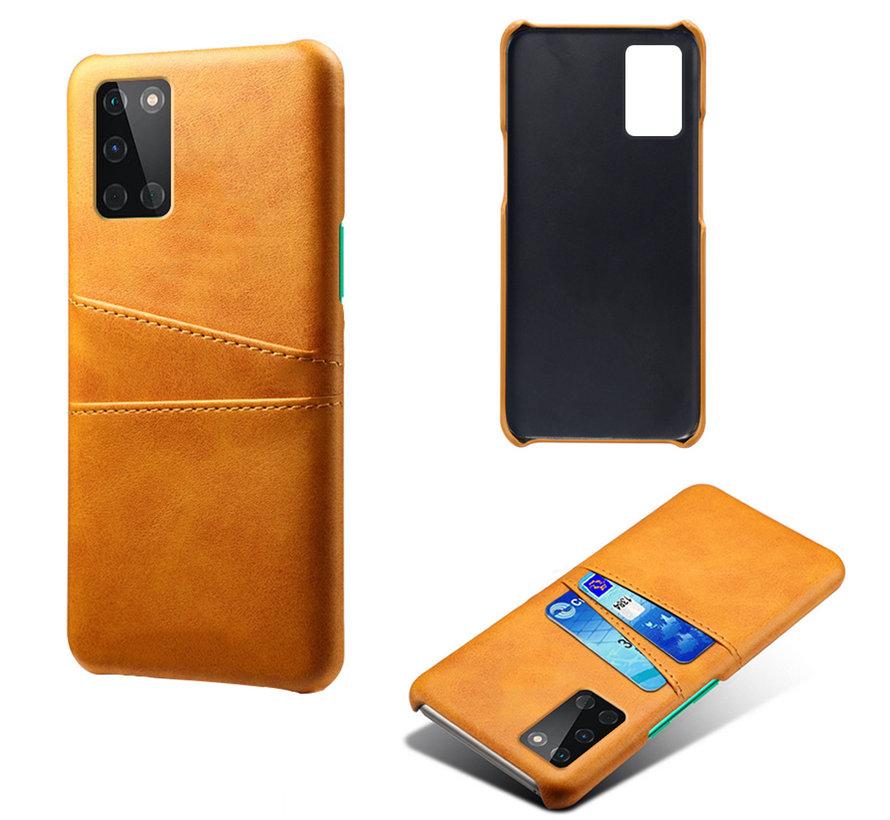 OnePlus 8T Case Kartenhalter aus schmalem Leder Cognac