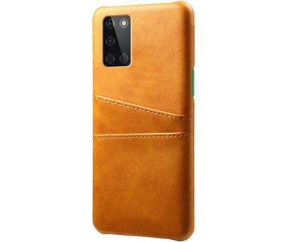OPPRO OnePlus 8T Case Kartenhalter aus schmalem Leder Cognac
