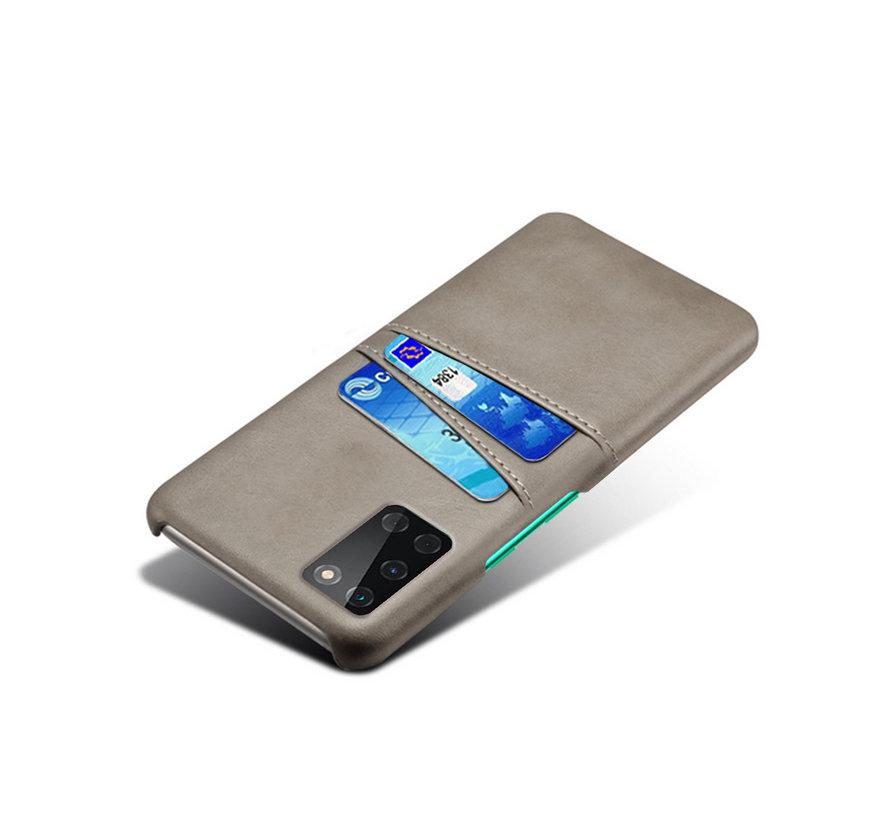 OnePlus 8T Hoesje Slim Leder Kaarthouder Grijs