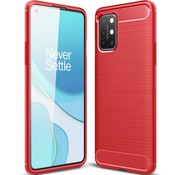 OPPRO OnePlus 8T Hoesje Brushed Carbon Rood