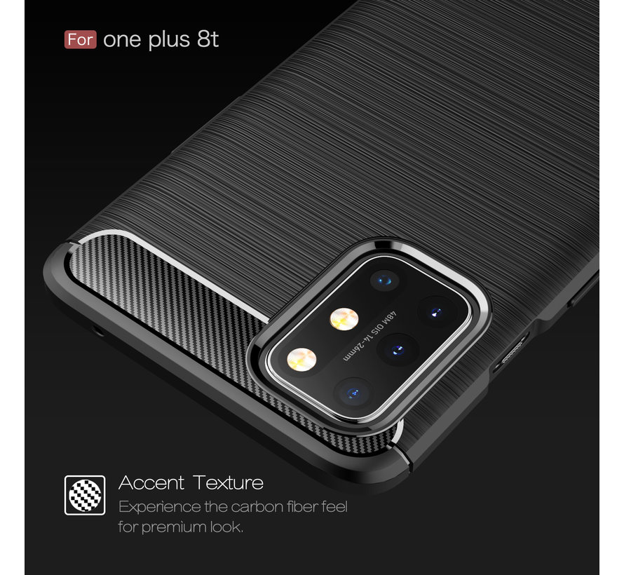 OnePlus 8T Hoesje Brushed Carbon Rood