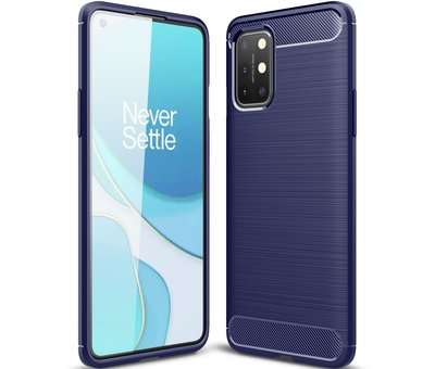 OPPRO OnePlus 8T Hoesje Brushed Carbon Blauw
