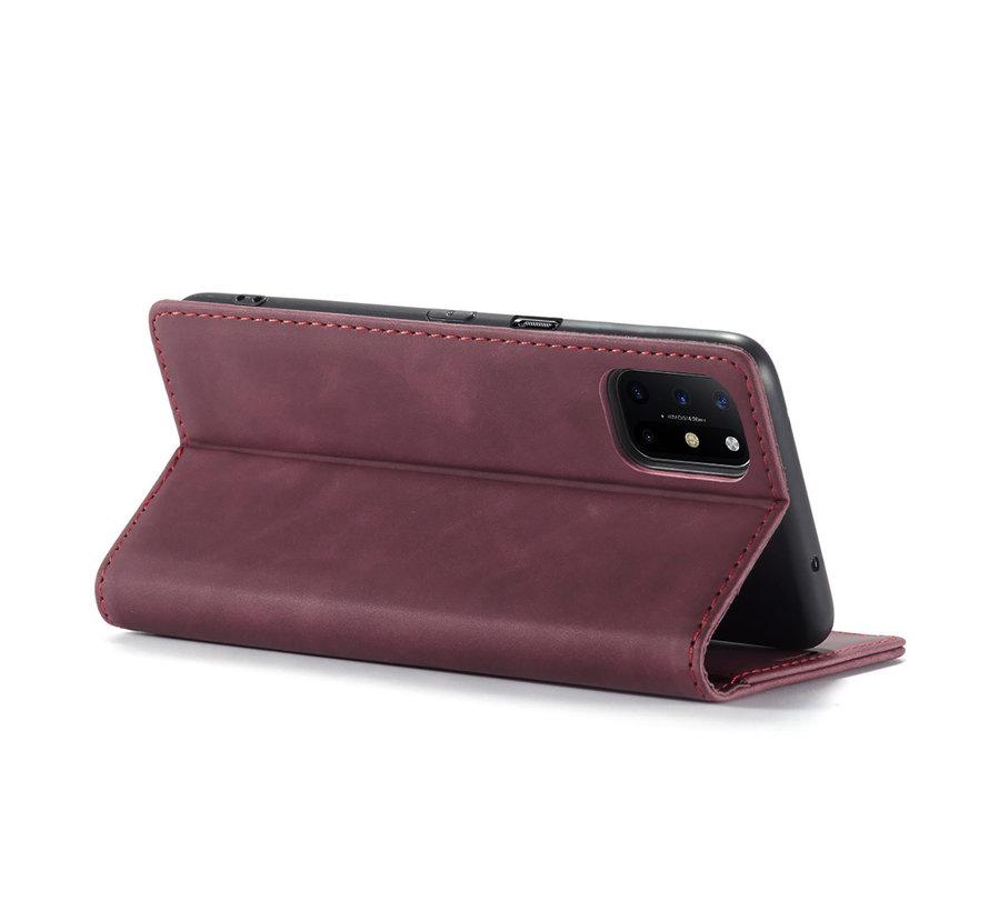 OnePlus 8T Wallet Hoesje Vintage Leder Rood
