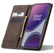 OPPRO OnePlus 8T Wallet Case Vintage Leather Brown