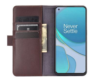 OPPRO OnePlus 8T Brieftasche Etui Echtes Leder Braun