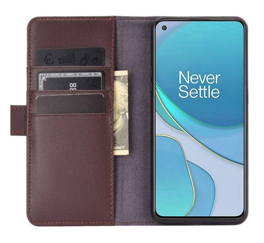 OnePlus 8T Brieftasche Etui Echtes Leder Braun