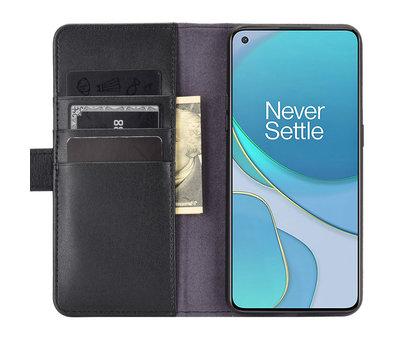 OPPRO OnePlus 8T Wallet Case Echtleder Schwarz