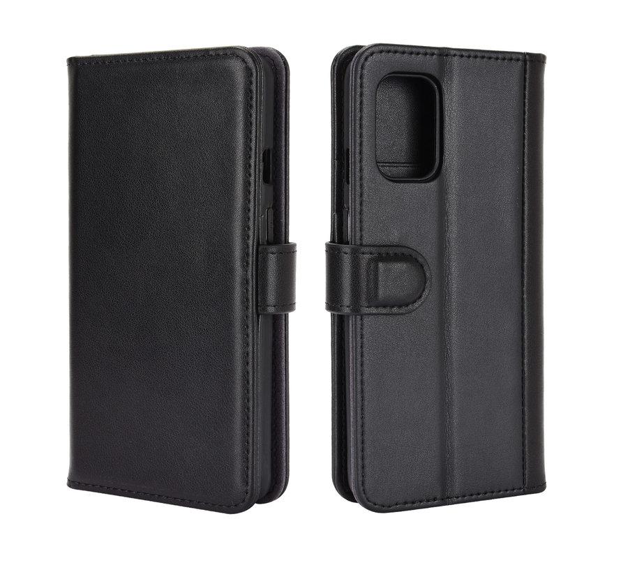 OnePlus 8T Wallet Hoesje Echt Leder Zwart