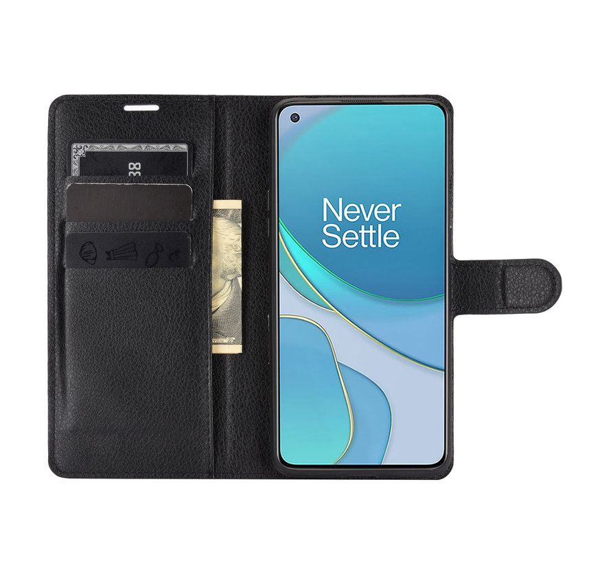 OnePlus 8T Wallet Flip Case Schwarz