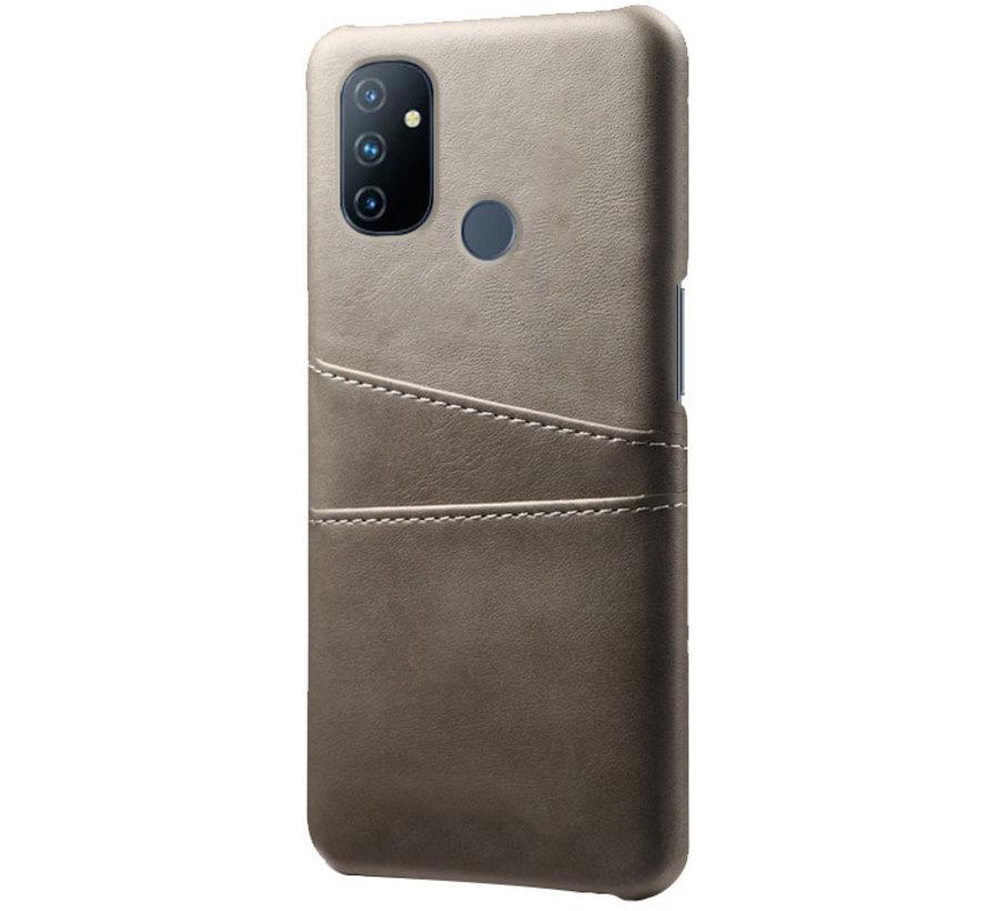 OnePlus Nord N100 Case Kartenhalter aus schmalem Leder Grau