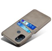OPPRO OnePlus Nord N100 Hoesje Slim Leder Kaarthouder Grijs