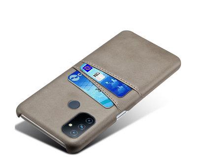 OPPRO OnePlus Nord N100 Case Kartenhalter aus schmalem Leder Grau