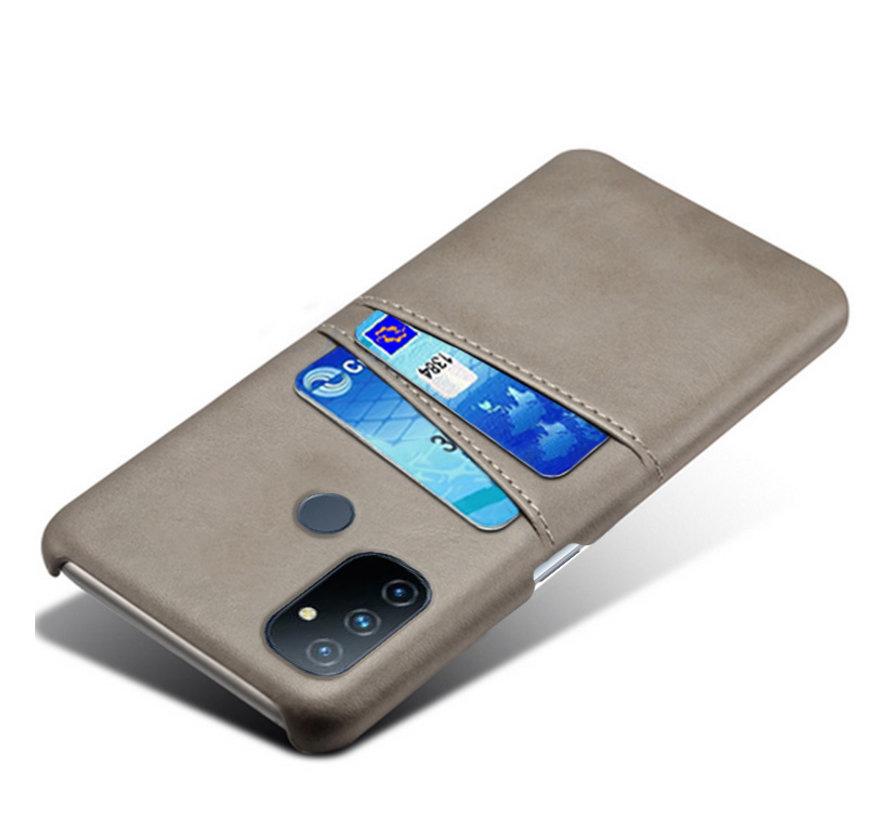 OnePlus Nord N100 Hoesje Slim Leder Kaarthouder Grijs