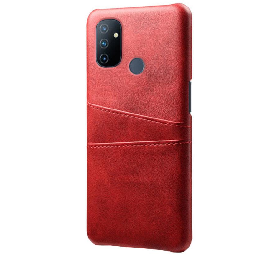 OnePlus Nord N100 Hoesje Slim Leder Kaarthouder Rood