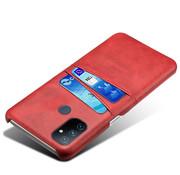 OPPRO OnePlus Nord N100 Hoesje Slim Leder Kaarthouder Rood