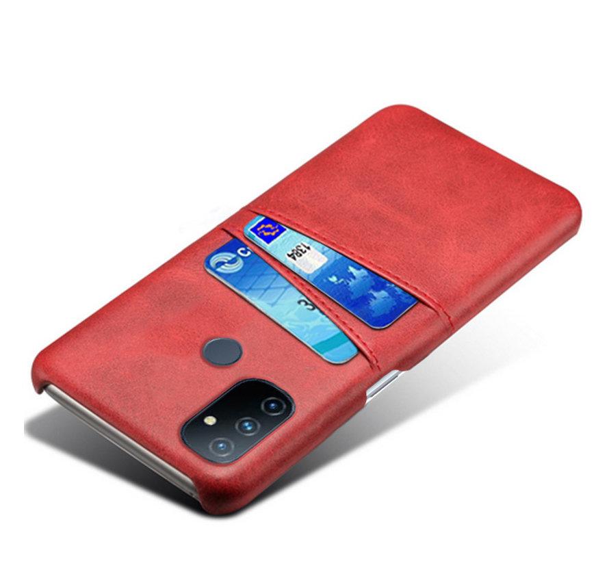 OnePlus Nord N100 Case Slim Leder Kartenhalter Rot