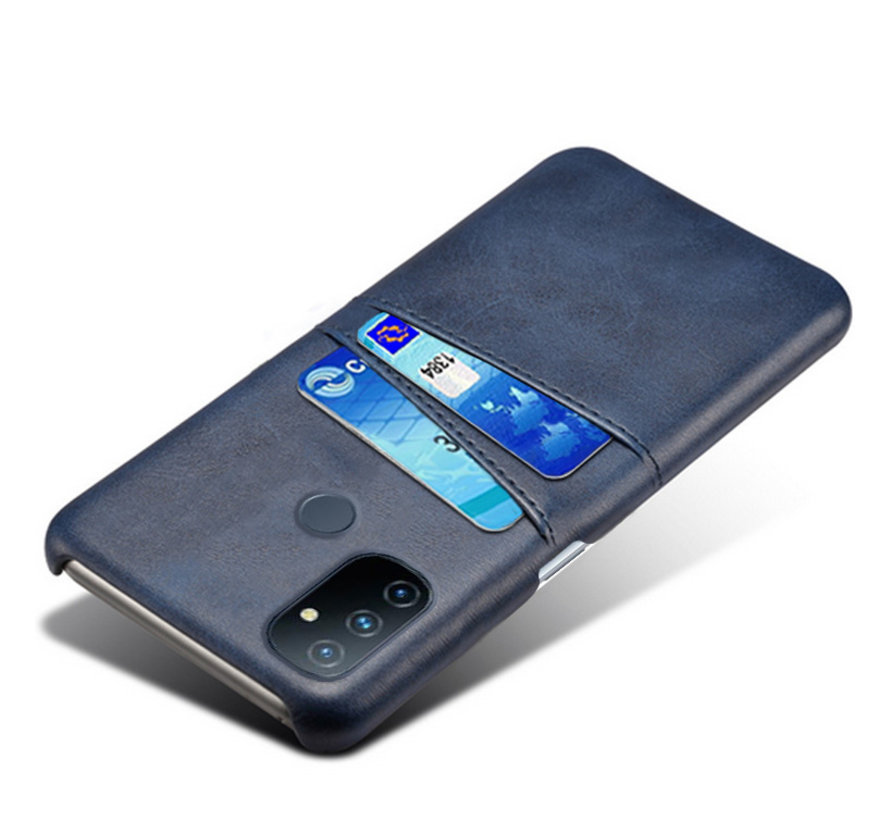 OnePlus Nord N100 Hoesje Slim Leder Kaarthouder Blauw