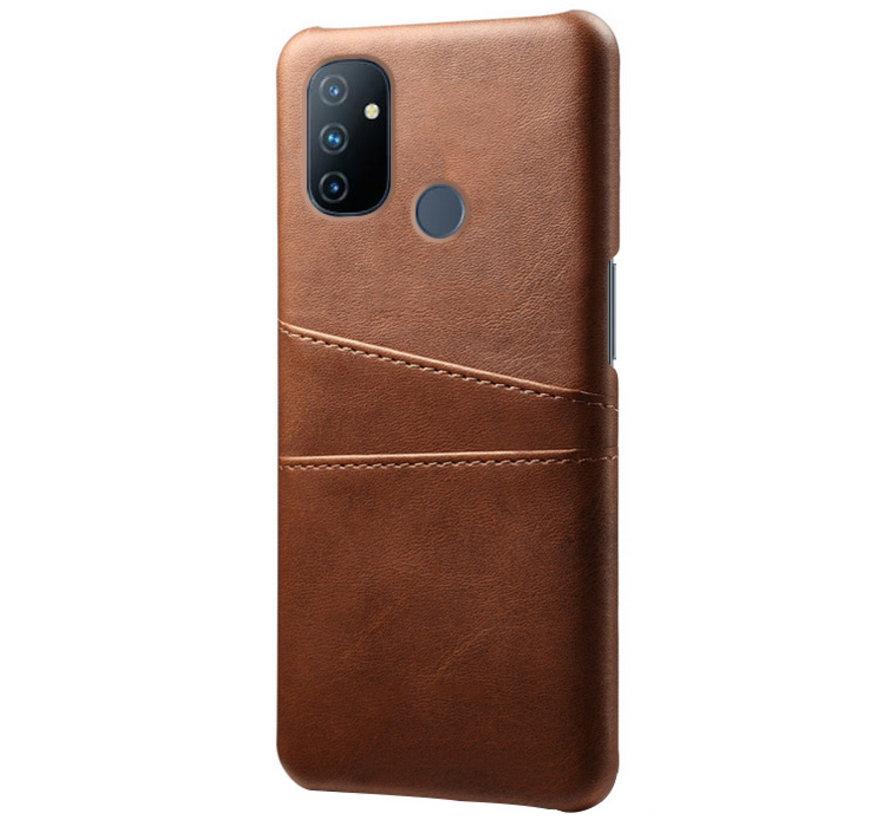 OnePlus Nord N100 Case Slim Leder Kartenhalter Braun