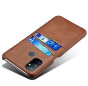OPPRO OnePlus Nord N100 Hoesje Slim Leder Kaarthouder Bruin