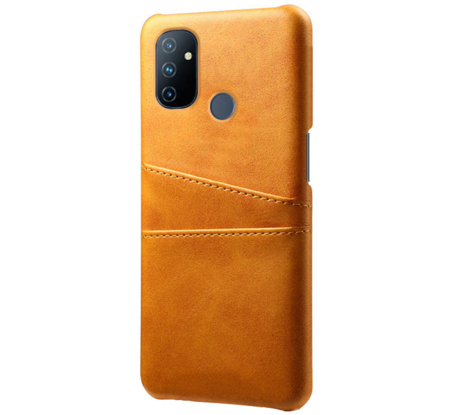 OnePlus Nord N100 Case Kartenhalter aus schmalem Leder Cognac
