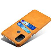 OPPRO OnePlus Nord N100 Hoesje Slim Leder Kaarthouder Cognac