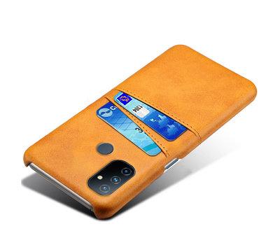 OPPRO OnePlus Nord N100 Case Kartenhalter aus schmalem Leder Cognac