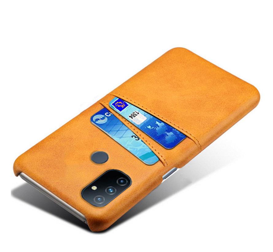 OnePlus Nord N100 Hoesje Slim Leder Kaarthouder Cognac