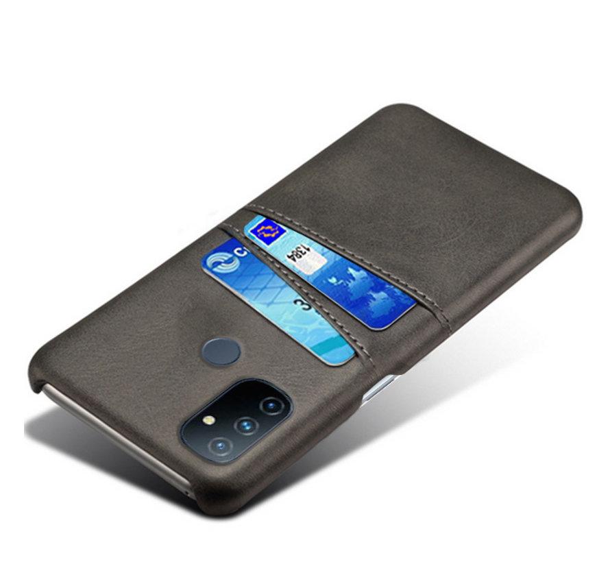 OnePlus Nord N100 Case Slim Leder Kartenhalter Schwarz