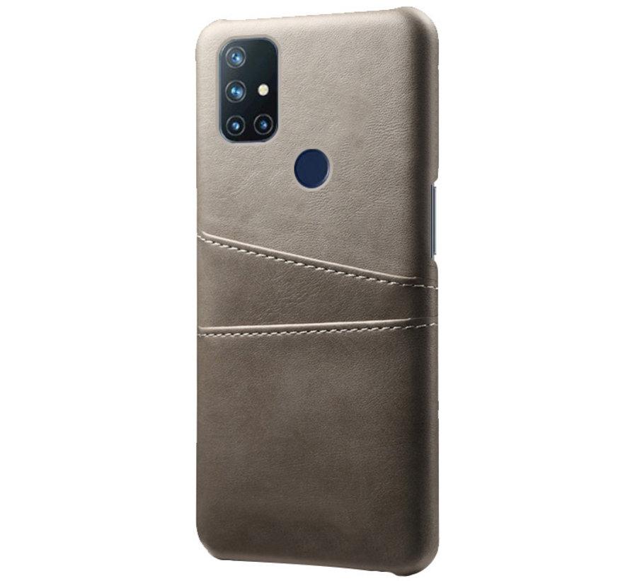 OnePlus Nord N10 5G Case Slim Leder Kartenhalter Grau