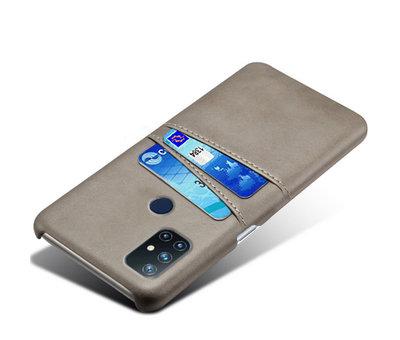OPPRO OnePlus Nord N10 5G Hoesje Slim Leder Kaarthouder Grijs