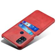 OPPRO OnePlus Nord N10 5G Hoesje Slim Leder Kaarthouder Rood
