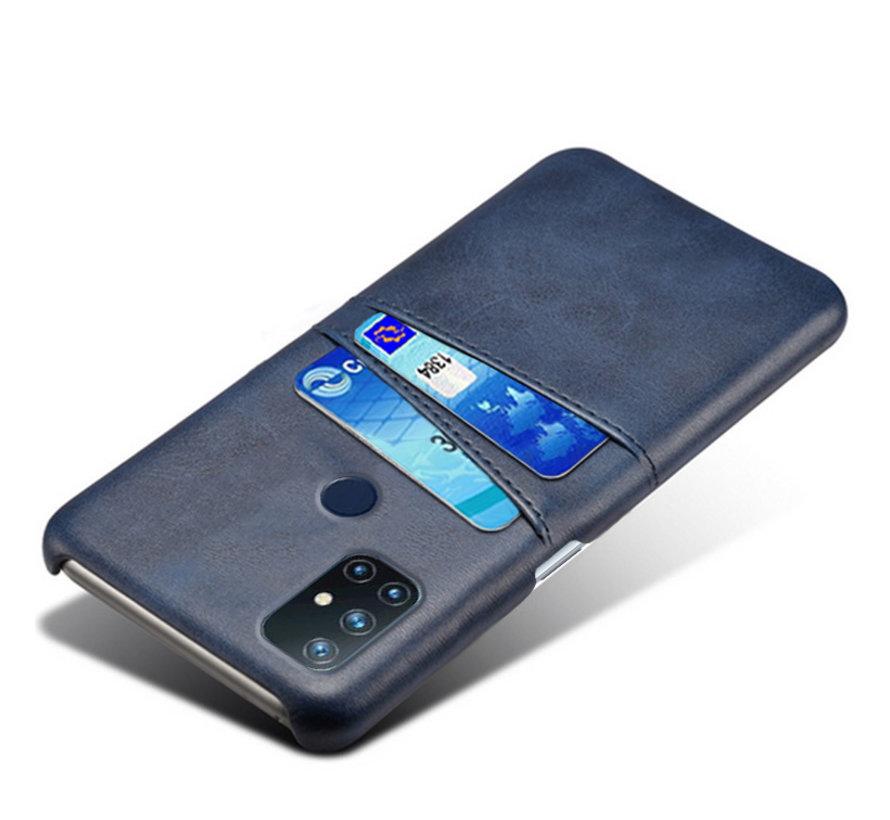 OnePlus Nord N10 5G Hoesje Slim Leder Kaarthouder Blauw