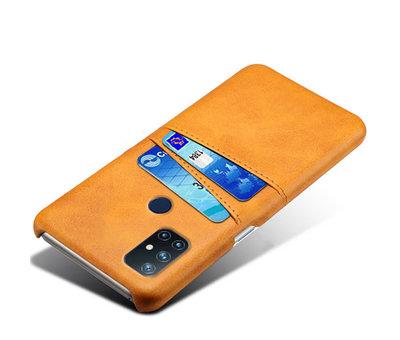 OPPRO OnePlus Nord N10 5G Case Kartenhalter aus schmalem Leder Cognac