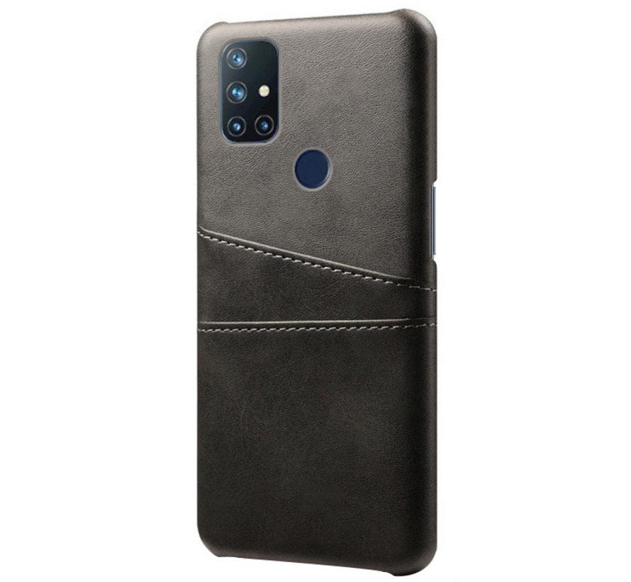 OnePlus Nord N10 5G Hoesje Slim Leder Kaarthouder Zwart