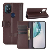 OPPRO OnePlus Nord N10 5G Wallet Case Genuine Leather Brown