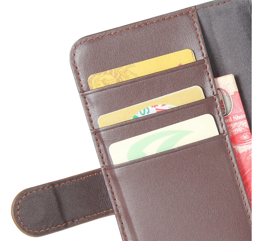 OnePlus Nord N10 5G Wallet Hoesje Echt Leder Bruin