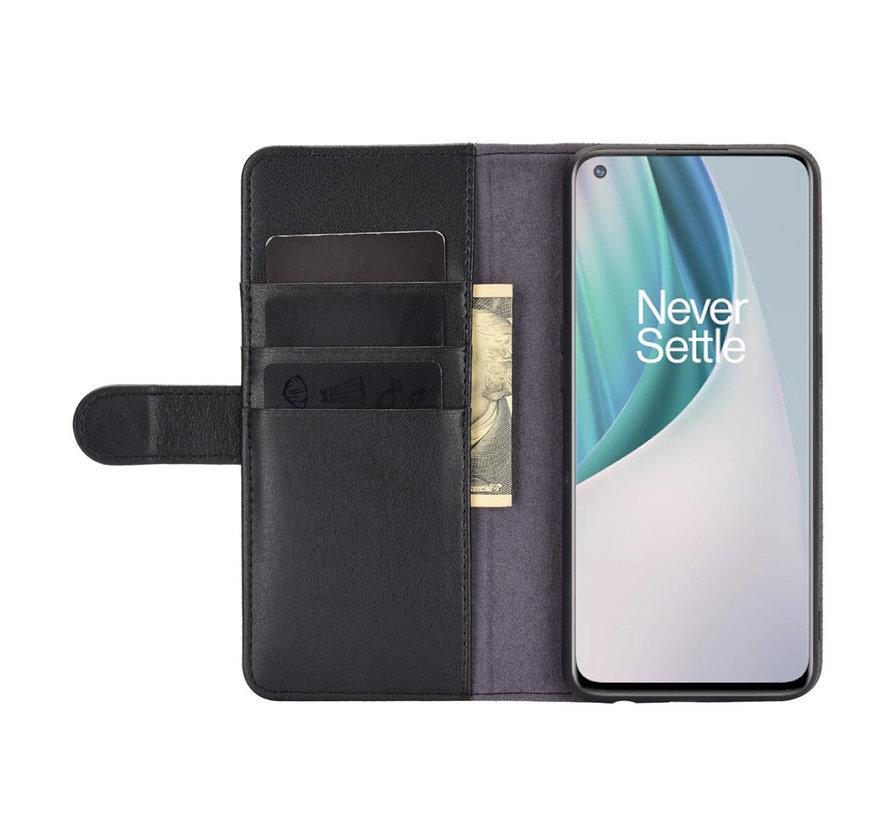 OnePlus Nord N10 5G Wallet Hoesje Echt Leder Zwart