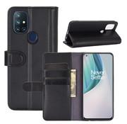 OPPRO OnePlus Nord N10 5G Wallet Case Echtleder Schwarz
