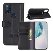 OPPRO OnePlus Nord N10 5G Wallet Hoesje Echt Leder Zwart