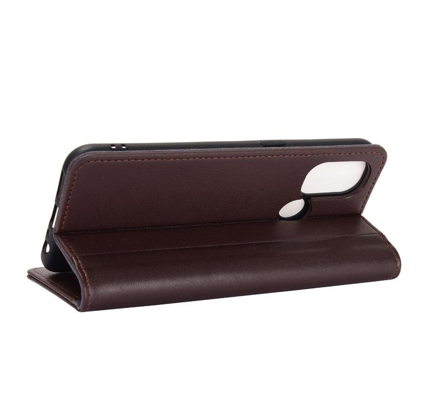 OnePlus Nord N100 Wallet Hoesje Echt Leder Bruin
