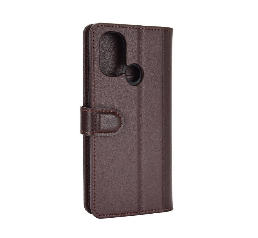 OnePlus Nord N100 Brieftasche Etui Echtes Leder Braun